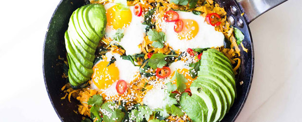 Sweet Potato Hash with Eggs and Spinach