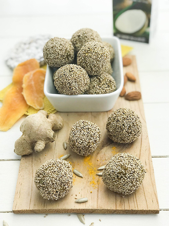 Energy Balls with Mango, Ginger and Turmeric