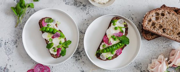 Spring Vegetable Crostini with Macadamia Nut Ricotta