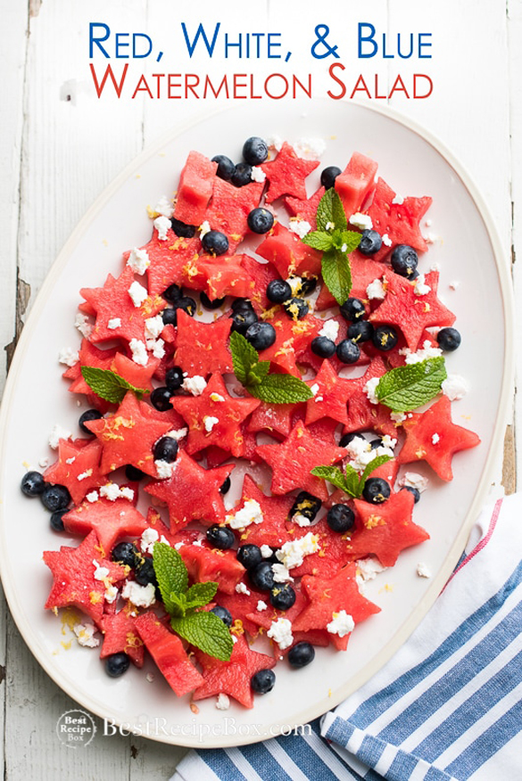 Red White and Blue Watermelon Salad
