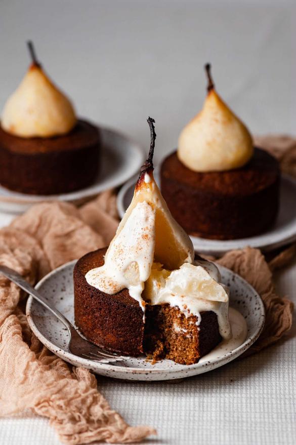 Mini Poached Pear Cardamom Cakes