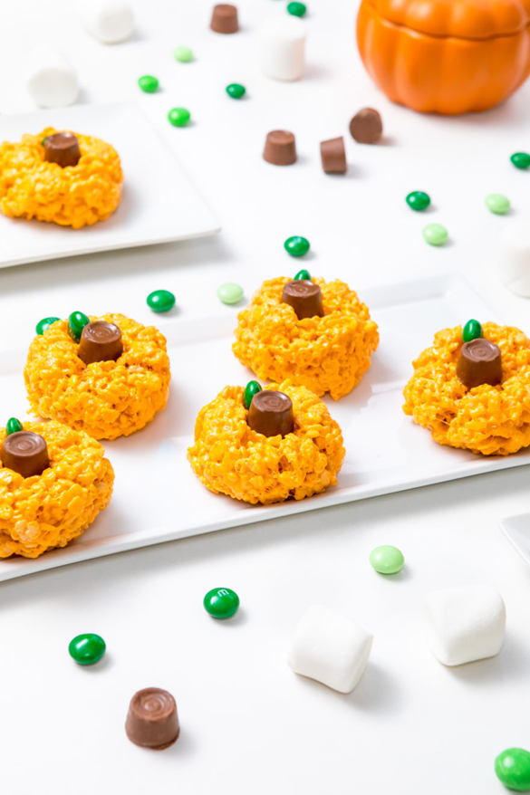 Rice Krispie treat pumpkins Halloween recipe