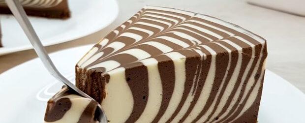 ZEBRA cake without baking, without flour!